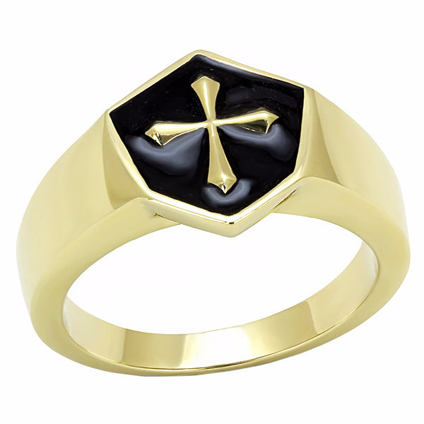 Medieval Cross in Black background Shield Shape Gold IP Stainless Steel Ring - LA NY Jewelry