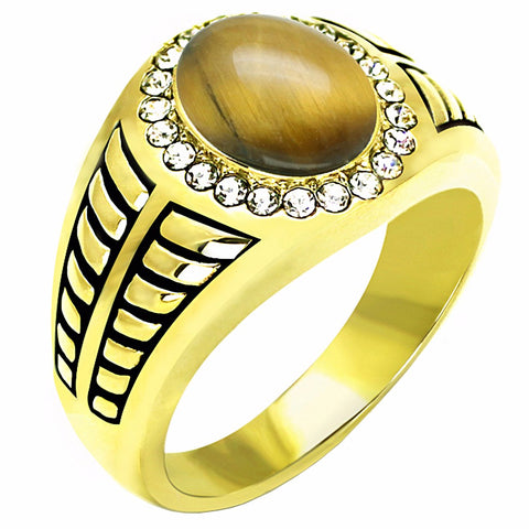 Tiger Eye Center with Top Crystal Set in Gold IP Stainless Steel Mens Ring - LA NY Jewelry