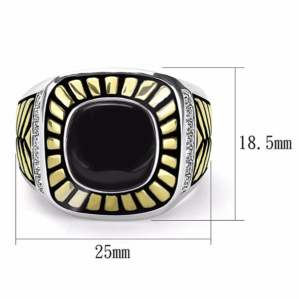 Onyx Center with Top Crystal Set in Two-Tone Gold IP Stainless Steel Mens Ring - LA NY Jewelry