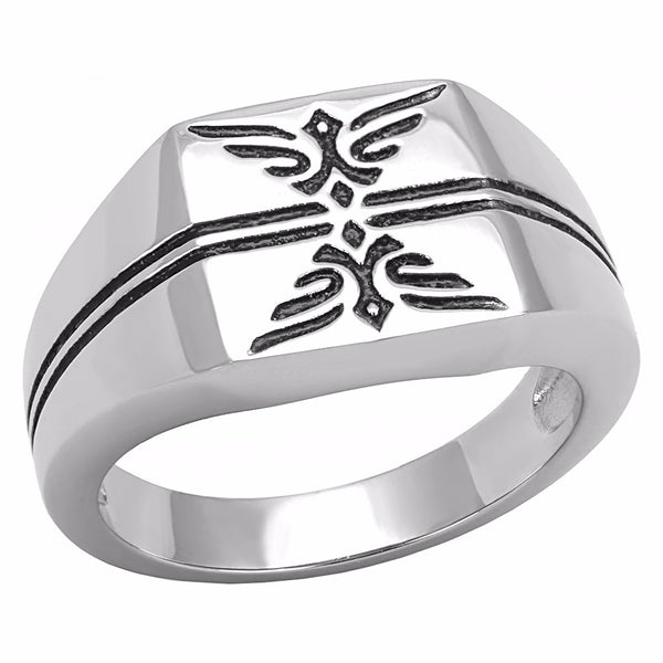 Designer Style 316 Stainless Steel Epoxy Jet Mens Ring - LA NY Jewelry