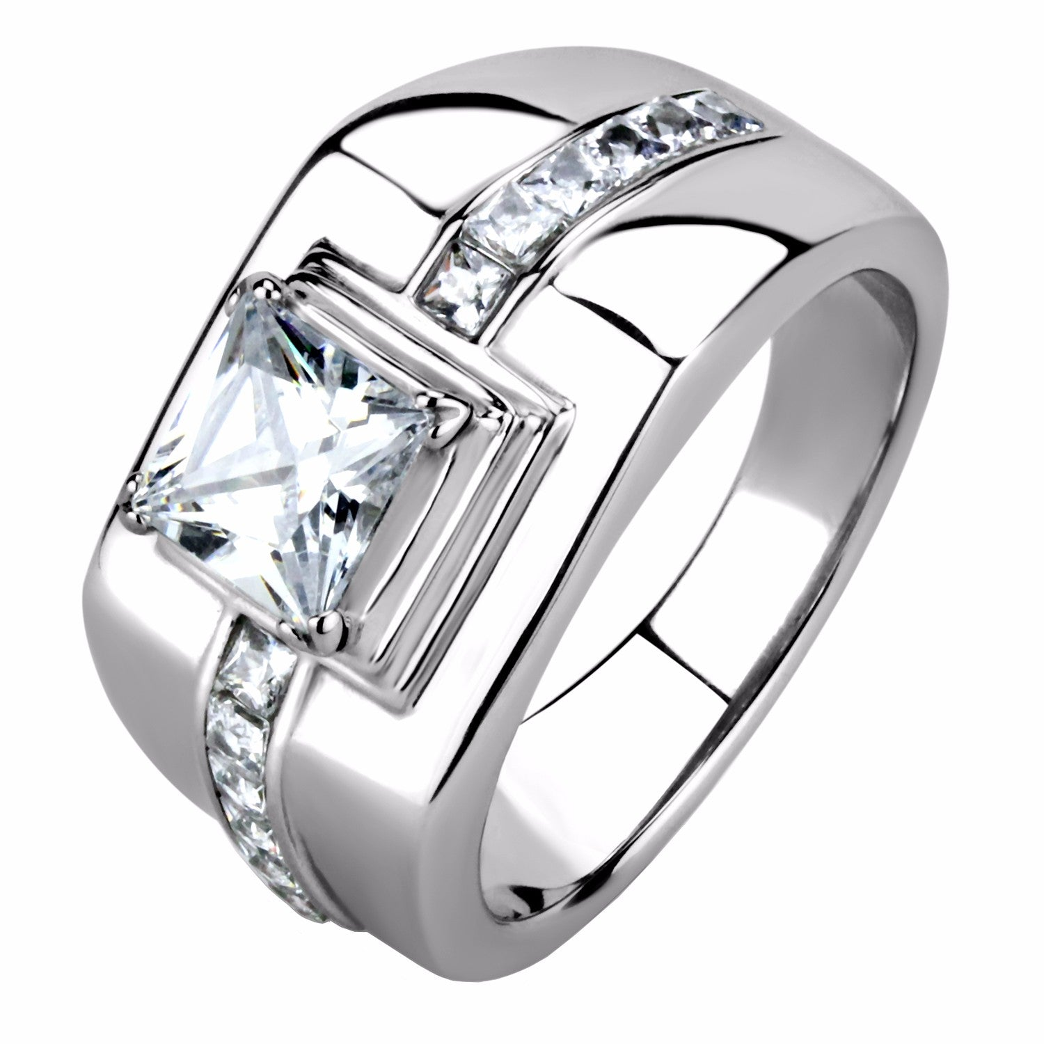 7x7mm Princess Cut CZ Center Small Princess CZ Side Stainless Steel Mens Ring - LA NY Jewelry