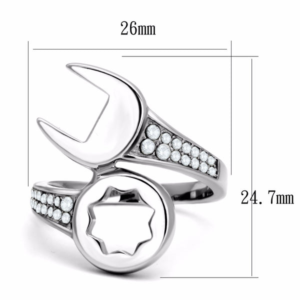 Round Clear CZ on Mechanic Wrench Tool Stainless Steel Mens Ring - LA NY Jewelry