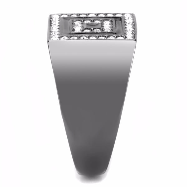 Top Grade Crystal Set Square in Square Light Black IP Stainless Steel Mens Ring - LA NY Jewelry