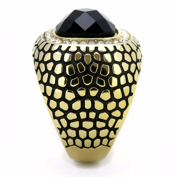 Big 12x12mm Black Synthetic Multiple Cut Stone Gold IP Stainless Steel Ring - LA NY Jewelry