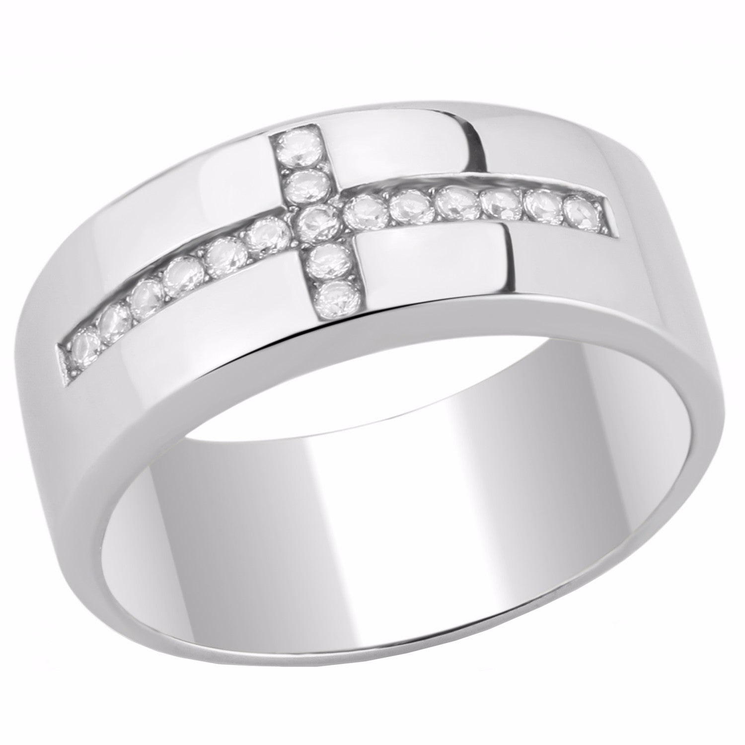 Round Clear CZ Set on Cross 316 Stainless Steel Mens Ring - LA NY Jewelry