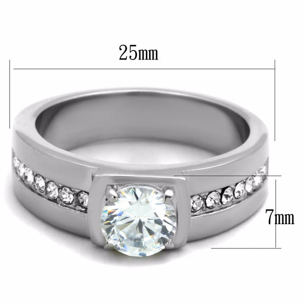 7x7mm Round Cut CZ Center Small Round CZ Side Stainless Steel Mens Ring - LA NY Jewelry