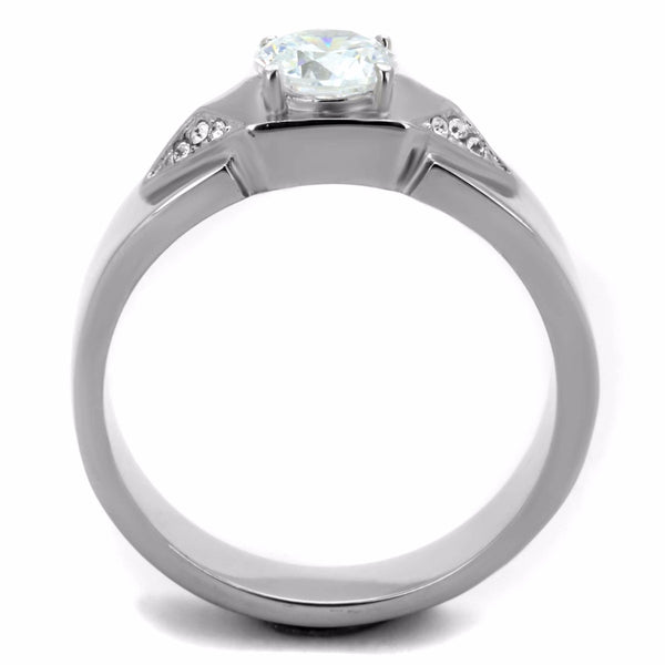 6x6mm Round Cut Clear CZ Center Small Side Stones Stainless Steel Mens Ring - LA NY Jewelry