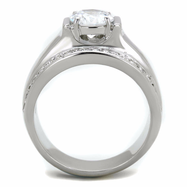 8x8mm Round Cut Clear CZ Center Raised Small Side Stones Stainless Steel Ring - LA NY Jewelry