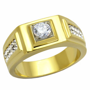 5x5mm Round Cut CZ Center Two Row Side Stones Gold IP Stainless Steel Mens Ring - LA NY Jewelry