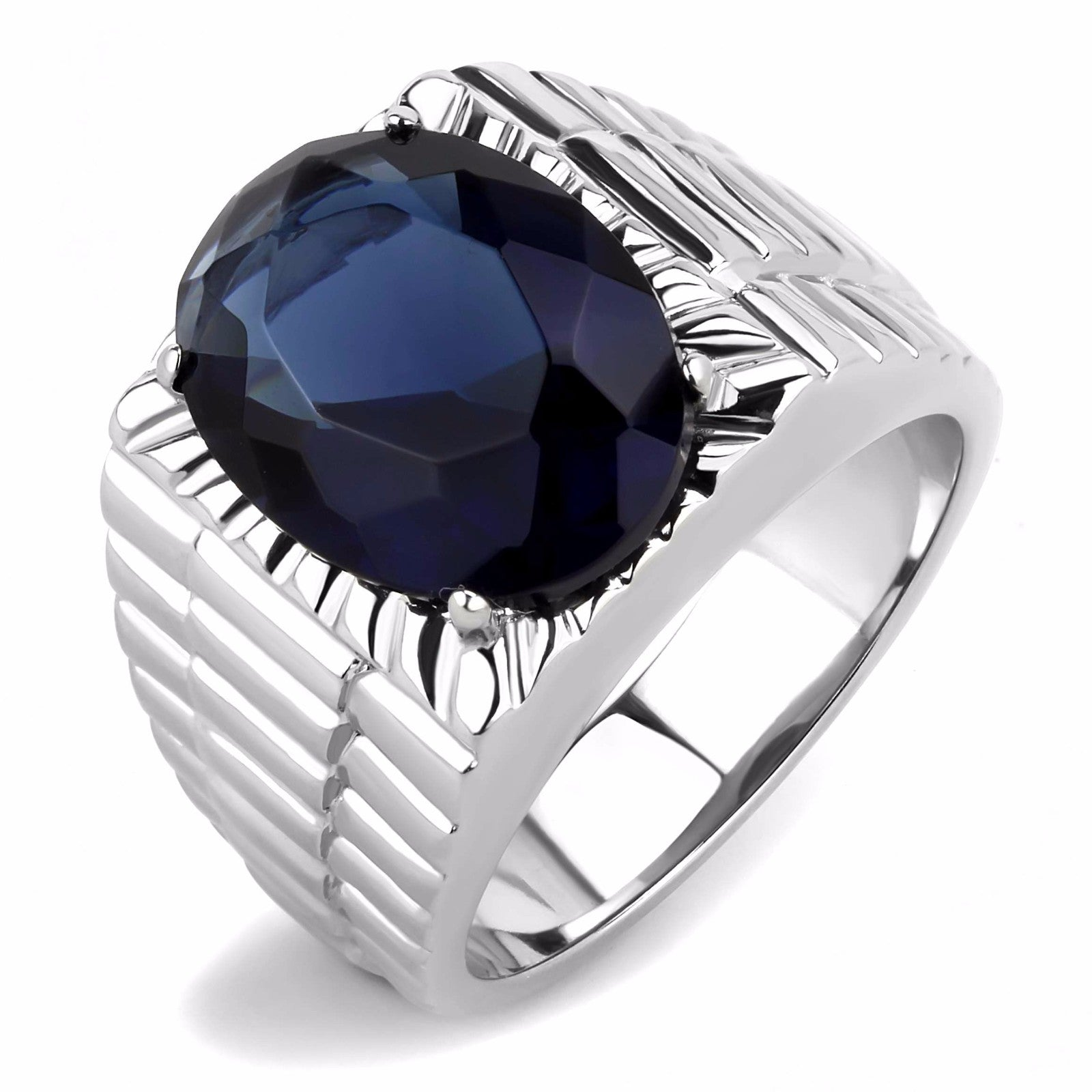 Big 16x12mm Oval Cut Deep Blue Sapphire CZ Solitaire Stainless Steel Mens Ring - LA NY Jewelry
