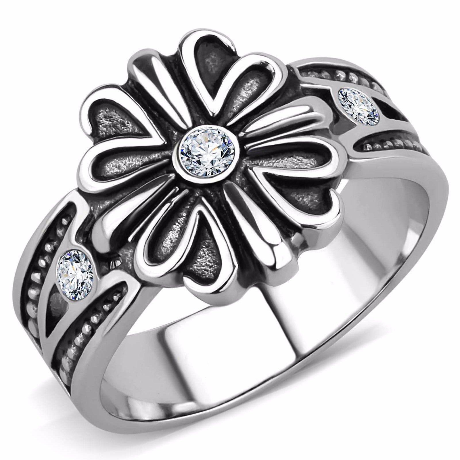 Top Grade Crystal Center High Polish Stainless Steel Mens Stylish Ring - LA NY Jewelry