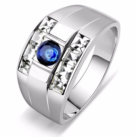 5x5mm Round Cut Sapphire CZ Two Row Princess Side Stones Stainless Steel Ring - LA NY Jewelry