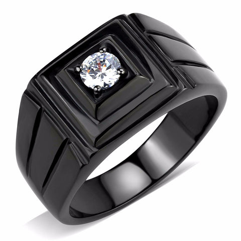 5x5mm Round Cut CZ Solitaire Black IP Stainless Steel Mens Ring - LA NY Jewelry