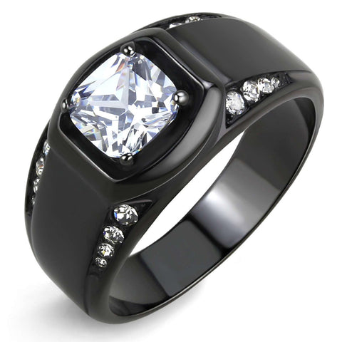 7x7mm Cushion Cut CZ Center Two Row Side Stone Black IP Stainless Steel Ring - LA NY Jewelry