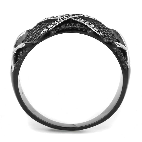 Three X Two-Tone Black IP Stainless Steel Mens Light Band Design Ring - LA NY Jewelry
