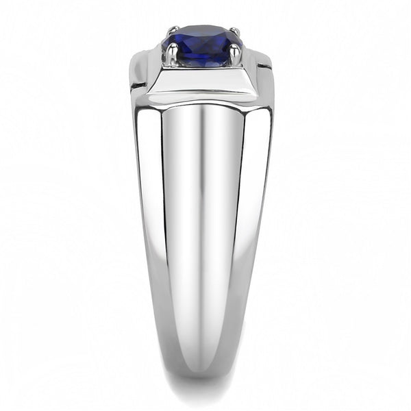 6.5mm Round Cut Montana Blue Sapphire CZ Solitaire Stainless Steel Mens Wedding Ring - LA NY Jewelry