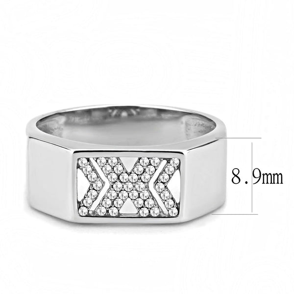 AAA Grade Clear CZ on X Shape Stainless Steel Mens Wedding Band
