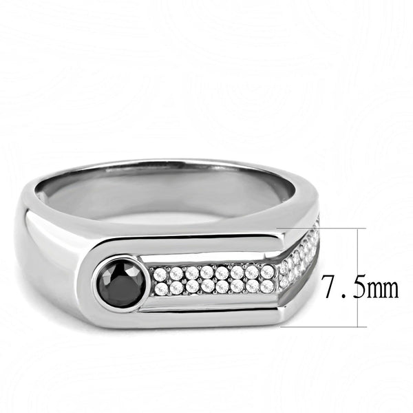 AAA Grade Black and Clear CZ Stainless Steel Mens High Polish Wedding Band