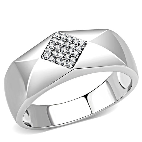 AAA Grade Clear CZ Form Rhombus Shape Stainless Steel Mens High Polish Wedding Band