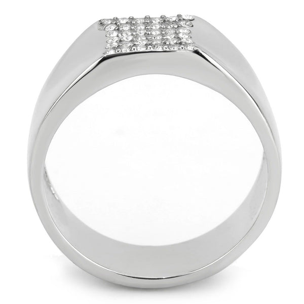 AAA Grade Clear CZ Flat Top Stainless Steel Mens High Polish Wedding Band