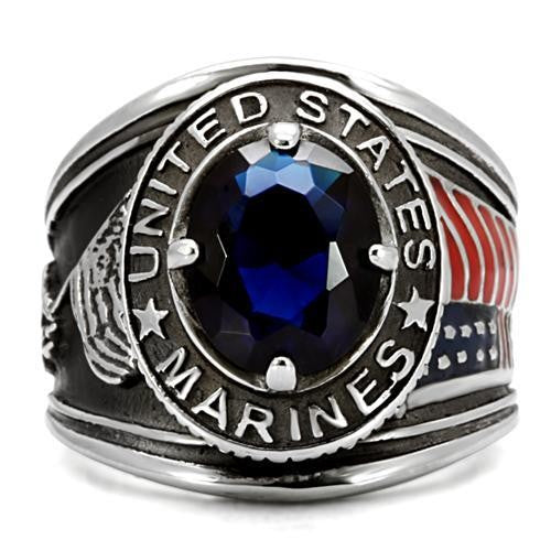 Men's 316 Stainless Steel Wide Band Marine Sapphire CZ Ring