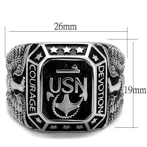 Men's 316 Stainless Steel Wide Band United States Navy Military Ring