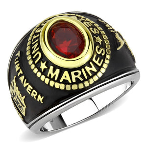 Women's 316 Stainless Steel Two Tone Gold Marine Military Ruby CZ Ring