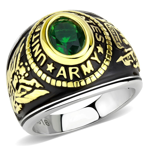 Women's 316 Stainless Steel Two Tone Gold Army Military Green CZ Ring