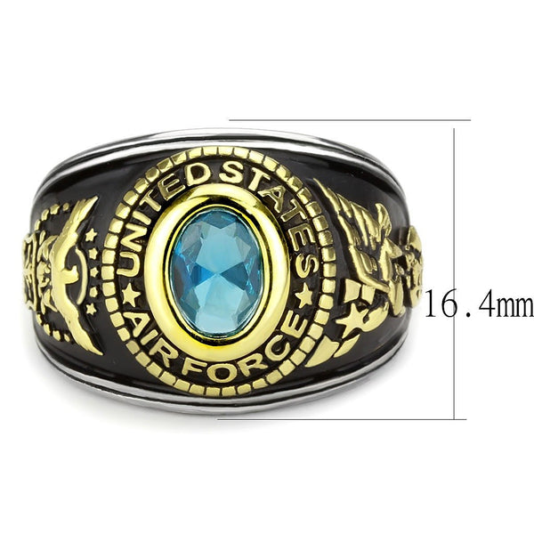 Women's 316 Stainless Steel Two Tone Gold Air Force Military Blue Topaz CZ Ring