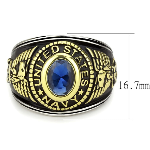 Women's 316 Stainless Steel Two Tone Gold Navy Military Deep Blue Sapphire CZ Ring
