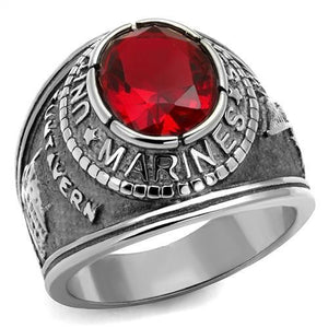 Men's 316 Stainless Steel Wide Band US Marine Ruby CZ Ring