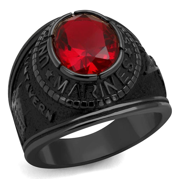 Men's Black IP Stainless Steel Wide Band US Marine Ruby CZ Ring