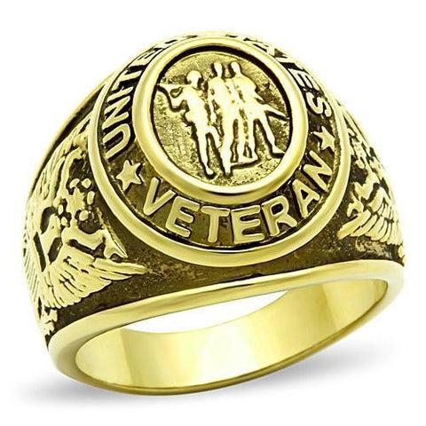 Men's Gold IP Stainless Steel US Military / Veteran Wide Band Ring