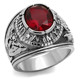 Men's 316 Stainless Steel Wide Band Army Ruby CZ Ring