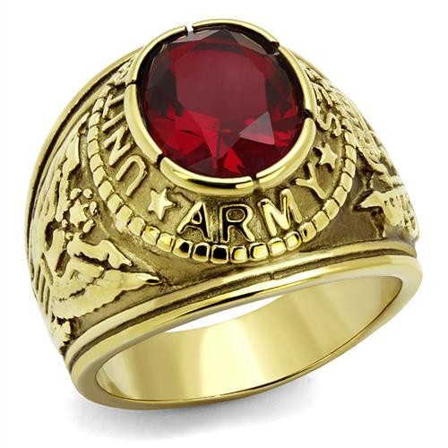 Men's Gold IP Stainless Steel Wide Band Army Ruby CZ Ring