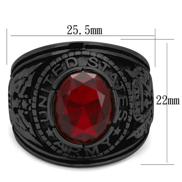 Men's Black IP Stainless Steel Wide Band Army Ruby CZ Ring