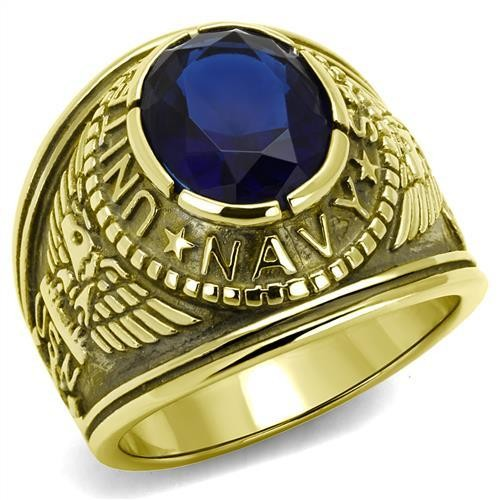 Men's Gold IP Stainless Steel Wide Band Navy Sapphire CZ Ring