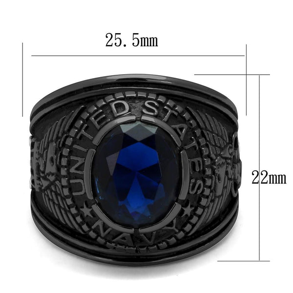 Men's Black IP Stainless Steel Wide Band Navy Sapphire CZ Ring