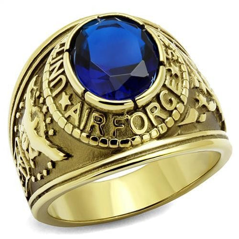 Men's Gold IP Stainless Steel Wide Band Air Force Sapphire CZ Ring