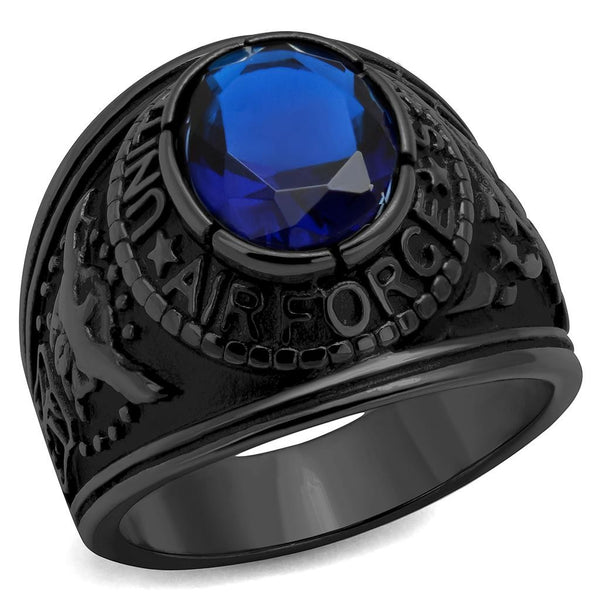 Men's Black IP Stainless Steel Wide Band Air Force Sapphire CZ Ring