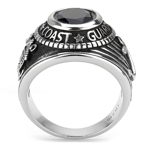 Men's 316 Stainless Steel Wide Band US Coast Guard Blue Sapphire CZ Ring