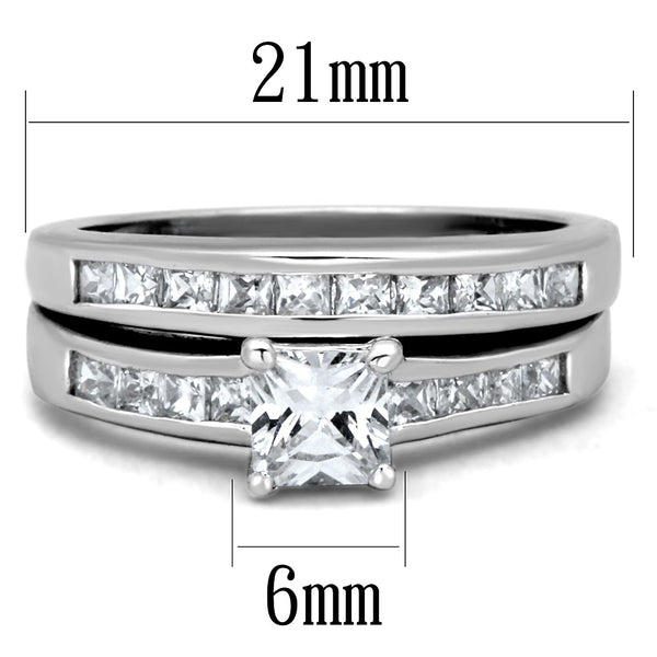 His Hers 3 Pcs Stainless Steel Princess Cut CZ Wedding Ring set Mens 7 Clear CZ Band - LA NY Jewelry