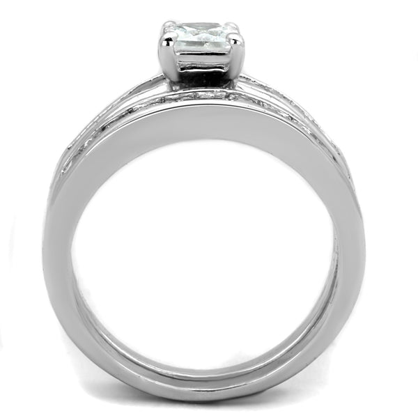 His Hers 3 Pcs Stainless Steel Princess Cut CZ Engagement Ring set Mens Flat Band - LA NY Jewelry