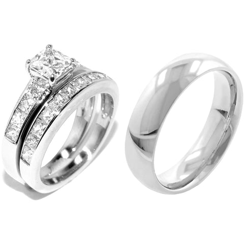 His & Hers 3 Pcs Stainless Steel Princess CZ Ring set / Mens Matching Plain Band
