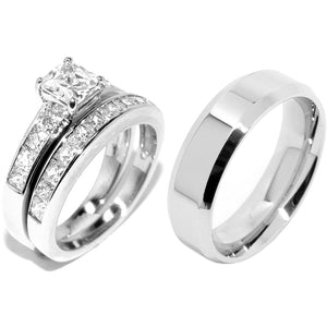 His Hers 3 Pcs Stainless Steel Princess Cut CZ Engagement Ring set Mens Flat Band