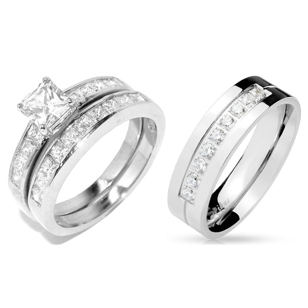 His Hers 3 PCS Stainless Steel Princess Cut CZ Wedding Ring set Mens 9 Round CZ Band