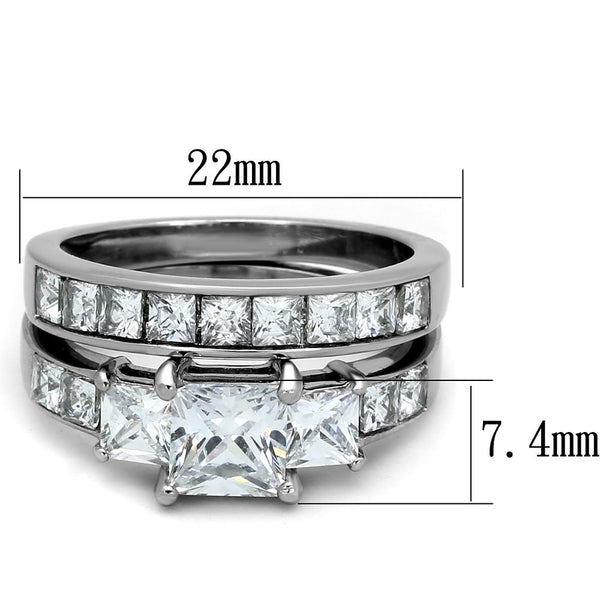 3 PCS Couple Womens Princess Cut CZ Wedding Ring set with Mens Flat Band - LA NY Jewelry