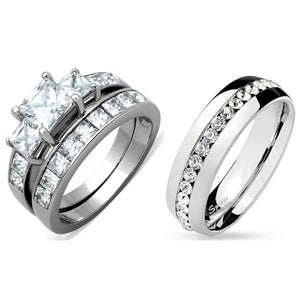 3 PCS Couple Womens Princess Cut CZ Wedding Ring set with Mens All Around CZ Band
