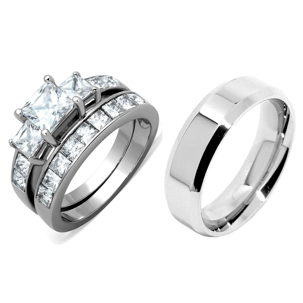 3 PCS Couple Womens Princess Cut CZ Silver Stainless Steel Wedding Ring set with Mens Flat Band