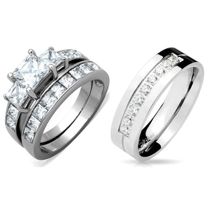 3 PCS Couples Ring Set Womens Princess Cut CZ Ring set with Mens 9 Round CZ Band